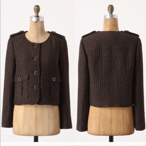 Anthro Cartonnier Tweed Quilted Button Jacket